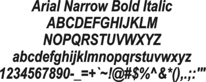 arial narrow bold